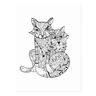 Doodle del Fox de Boho Tarjeta Postal