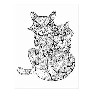 Doodle del Fox de Boho Tarjetas Postales