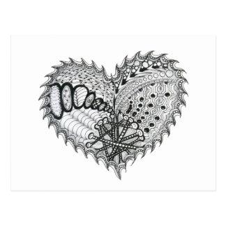 Doodle del fuego del corazón postal