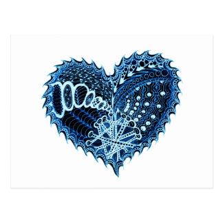 Doodle del fuego del corazón tarjetas postales