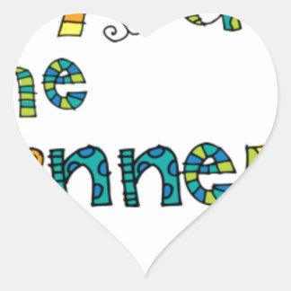 Doodle del ganador pegatina en forma de corazón