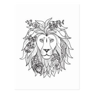 Doodle del león y de las flores tarjetas postales
