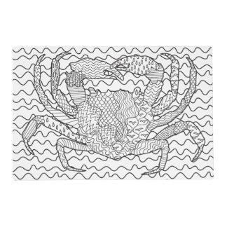 Doodle detallado del cangrejo del mar salvamanteles