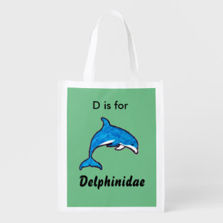 """""""Doodle Dolphin"""" Tote Bag Reusable Grocery Bag"""