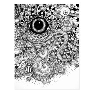 Doodle Drawing with an Eye Postcard