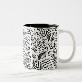 doodle floral Two-Tone coffee mug