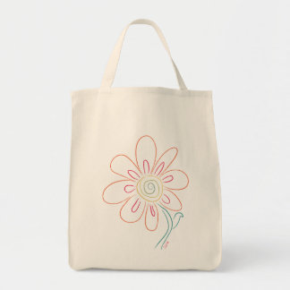 Doodle Flower Grocery Tote Canvas Bag