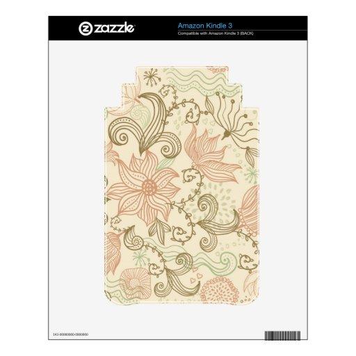 Doodle Flowers Amazon Kindle Skin
