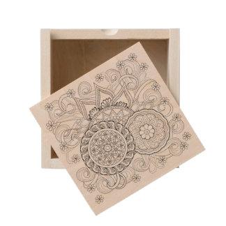 Doodle Flowers And Mandalas Wooden Keepsake Box