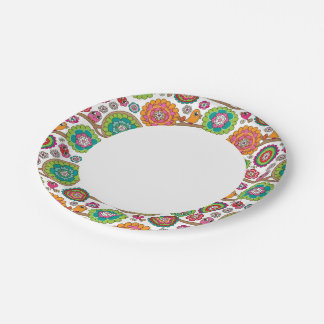 doodle flowers background pattern paper plate