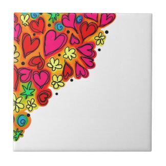 doodle Flowers Colors Tile