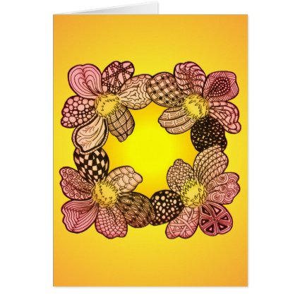 Doodle Flowers in Peach, Orange, and Gold Greeting Card