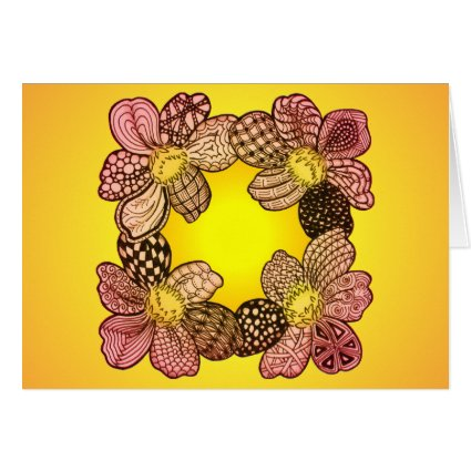 Doodle Flowers in Peach, Orange, and Gold Card