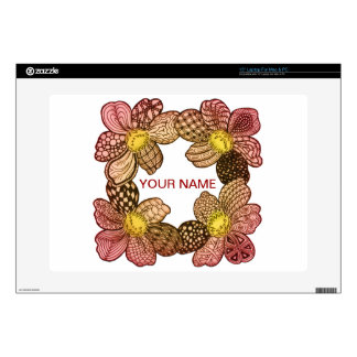 "Doodle Flowers in Peach, Orange, and Gold Decal For 15"" Laptop"