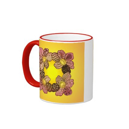 Doodle Flowers in Peach, Orange, and Gold Coffee Mug