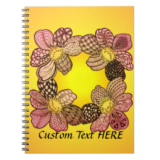 Doodle Flowers in Peach, Orange, and Gold Notebook