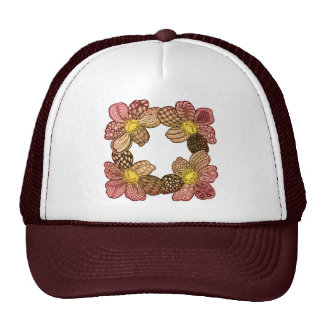 Doodle Flowers in Peach, Orange, and Gold Trucker Hat