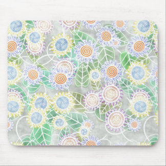 Doodle flowers in yellow, blue, orange and purple, mouse pad