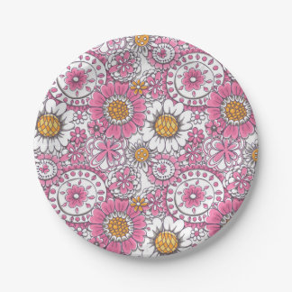 Doodle flowers paper plate