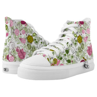 doodle flowers printed shoes