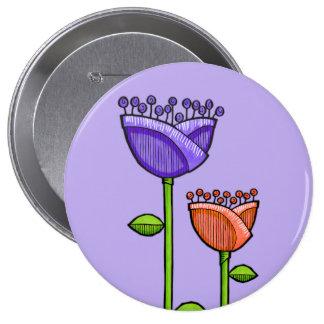 Doodle Flowers purple orange Button