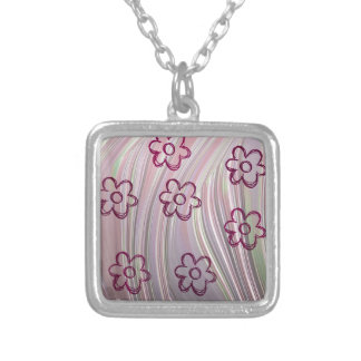 doodle flowers square pendant necklace
