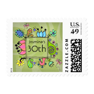 Doodle Folk Art 30th Birthday Invite Flowers Stamp