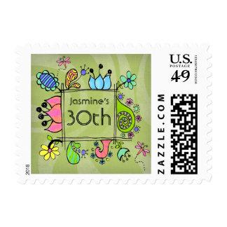Doodle Folk Art 30th Birthday Invite Flowers Stamp