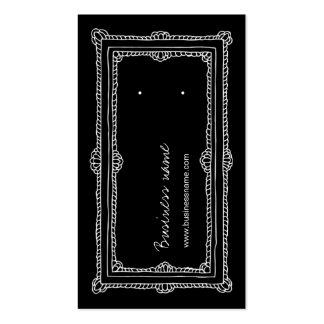 Doodle Frame Black Vertical Earring Back Cards Double-Sided Standard Business Cards (Pack Of 100)