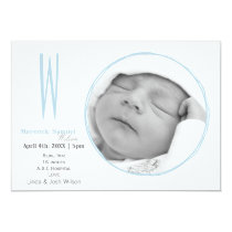 Doodle frame Monogram Blue Baby photo Announcement