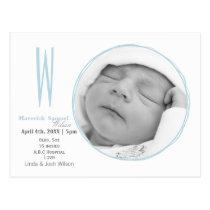 Doodle frame Monogram Blue Baby photo Announcement Postcard
