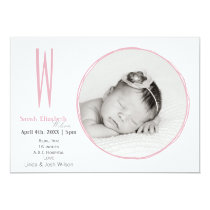 Doodle frame Monogram Pink Baby photo Announcement