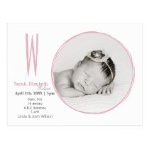 Doodle frame Monogram Pink Baby photo Announcement Postcard