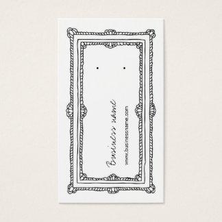 Doodle Frame White Vertical Earring Back Cards