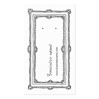 Doodle Frame White Vertical Earring Back Cards Double-Sided Standard Business Cards (Pack Of 100)