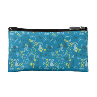 Doodle girly blue for baby hand drawn pattern makeup bag