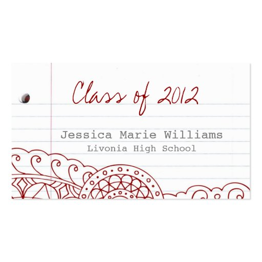Doodle Graduation Name Card Double-Sided Standard Business Cards (Pack Of 100)