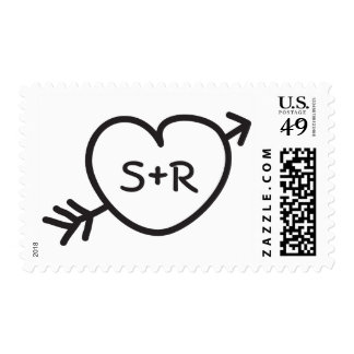 Doodle hand drawn initials love heart with arrow stamp