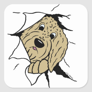 Doodle head square sticker