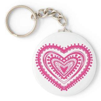 Doodle heart 5 pink zazzle_keychain