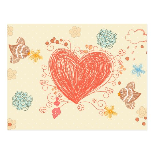 Doodle heart and birds happy mothers day postcard