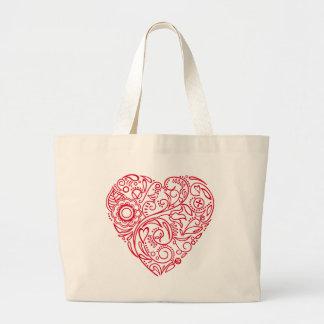doodle heart large tote bag