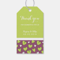 Doodle Heart Pattern Wedding Gift Tag Purple Green