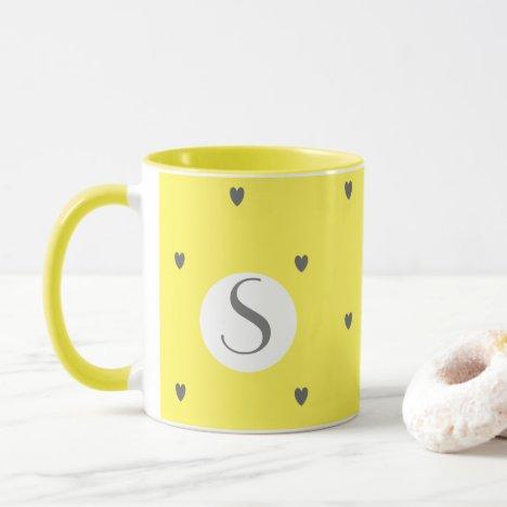 Doodle Heart Patterns Grey Yellow Monogram Cute Mug