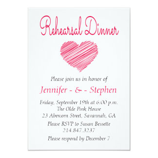 Doodle Heart Pink Red Rehearsal Dinner Card