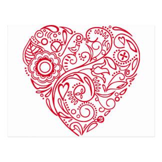 doodle heart postcard