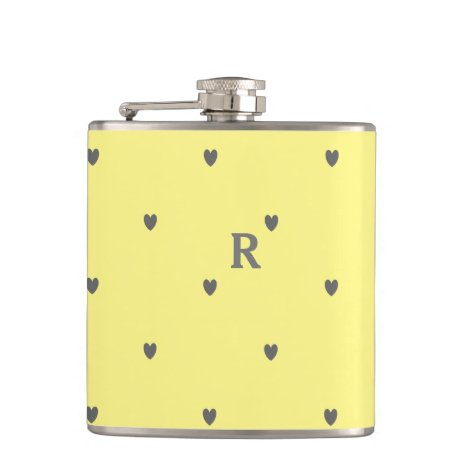 Doodle Hearts Pattern Yellow Grey Monogram Initial Flask