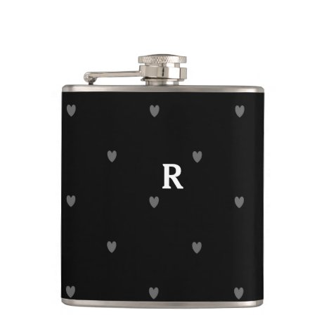 Doodle Hearts Patterns Black Grey Monogram Initial Flask