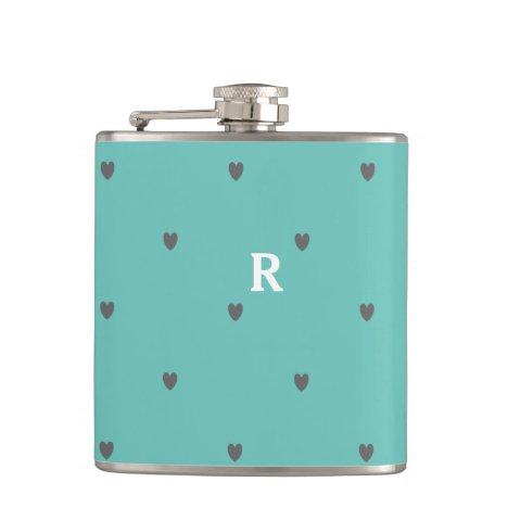 Doodle Hearts Patterns Teal Blue Monogram Initial Flask