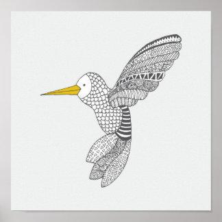 Doodle Hummingbird. Nursery Decor. Poster